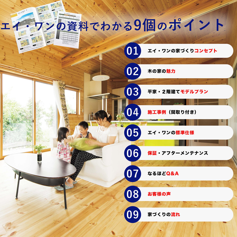 資料でわかるポイント|ログハウスのような木の家を低価格住宅を建てるならエイ・ワン